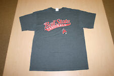 Ball State University BSU Cardinals Soft Gray Tee T-Shirt Size L Large Polyester