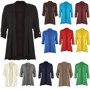 Ladies Short Sleeve Button Open Cardigan Womens Stretch Top All UK Sizes 8-26
