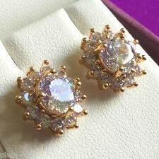 MR White sapphire 1cm cluster 18k yellow gold filled stud earrings BOXED Plum UK