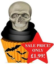12 NOVELTY HAPPY HALLOWEEN STAND UPS Human Skull Scary Edible Image Cake Toppers