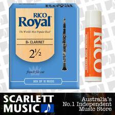 Rico Royal Bb Clarinet Reed 10 Pack Reeds Size 2.5 ( 2 1/2 ) 10PK + Cork Grease