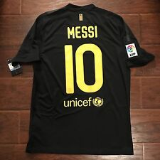 2011/12 Barcelona Away Jersey #10 Messi Medium Football Soccer NIKE Black NEW