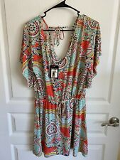 Womens Short Sleeve Shirt L/XL New Multi Color Cinched Tie Waist