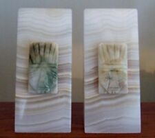 Agate Onyx Stone Bookends with Tiki Easter Island Aztec Accents Tan Cream 6 Lbs