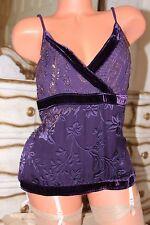 S4  MONSOON deep purple  100% silk front  ladies summer top vest size 14