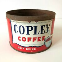 Vintage Copley Drip Grind Coffee Tin Collectible Can New England 1950's / 60's