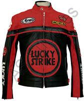 LUCKY STRIKE Veste de Moto en Cuir Blouson Motard - Noir / Rouge