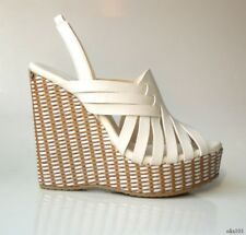 JIMMY CHOO white 37.5 7.5 leather strappy wedges shoes new $575