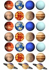 PLANETS Wafer Rice Paper Cupcake Toppers EDIBLE SOLAR SYSTEM CAKE DECORATIONS