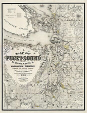 1877 Map Of Puget Sound And Surroundings, Washington Territory Wall Poster Art