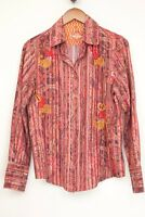 Robert Graham Womens Shirt M Red Paisley Stripe Pleated Embroidered Button Front