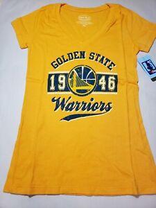 NBA Golden State Warriors Women's Premier Triblend Modest V-Neck Tee, Gold, XS