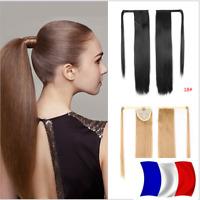 Queue de Cheval Postiche Extension de Cheveux Lisse  Wrap Around Ponytail Clip