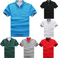 Mens Stand Collar Polo Shirt Slim Fit Short Sleeve Plain Casual T-shirt Tee Tops