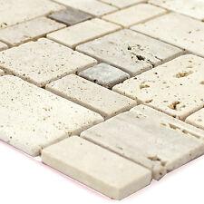 Travertin Naturstein Mosaik Fliesen Beige Selbstklebend   Bad Bordüre Wand WC