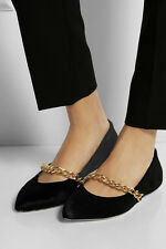 SIMONE ROCHA $885 black pony hair fur flats pointed toe chain strap shoes 39 IT