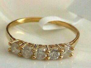 GENUINE 0.75CT DIAMOND RING 10K 10CT YELLOW GOLD ETERNITY RING SIZE 7 GIFT