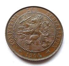NETHERLANDS 2 1/2 CENTS 1904, WILHELMINA, BRONZE, EF+ TINY TRACE LUSTRE. KM//134