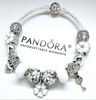 Authentic Pandora Charm Bracelet Silver Bangle White Flower with European Charms