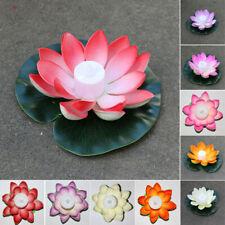 Floating Solar Powered LED-Lotus Flower Light Pond Pool Garden Landscape Lamp AU
