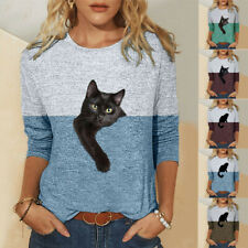 Women Long Sleeve Crew Neck Cat Print T Shirt Tee Loose Casual Tops Blouse print
