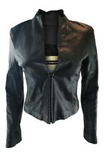 PLEIN SUD Faycal Amor Black Leather Fitted Jacket (40/8)
