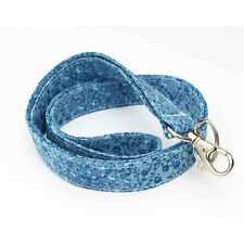 Fabric Keychains Cute Badge Holder Floral ID Lanyards Nurse - tiny blue flowers