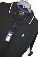 New Polo Ralph Lauren Colorblocked Performance Mesh Polo Shirt Large Black #1100