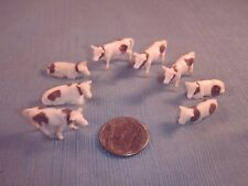 Vintage Hand Painted Ho Scale Small Herd of Eight Cows
