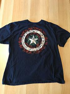 Marvel Captain America Tropical Shield Men's T-Shirt Size XL - Blue