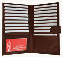 Genuine Leather Men's 19 Credit Card Holder Checkbook Wallet ID Strap Brown