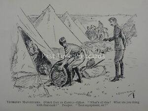 Soldier Military War YEOMANRY MANOEUVRES FIRST DAY IN CAMP Antique Punch Cartoon