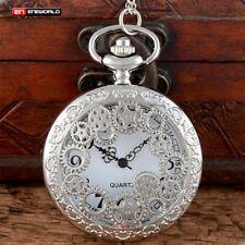 Vintage Necklace Pendant Gift Retro New Antique Gears Hollow Quartz Pocket Watch