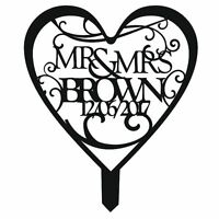 Personalised Mr & Mrs Black White or Mirror Wedding or Anniversary Cake Topper
