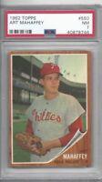 1962 Topps baseball card #550 Art Mahaffey, Philadelphia Phillies graded PSA 7