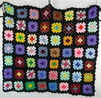 Granny Square Afghan Throw Lapghan Baby Blanket Black Blue Red More 42 x 35 inch