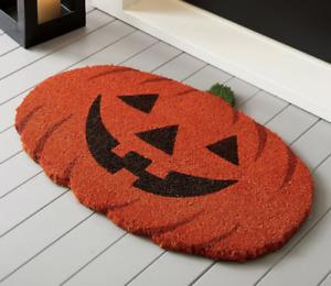 Pottery Barn Carved Pumpkin Doormat Halloween Brand New