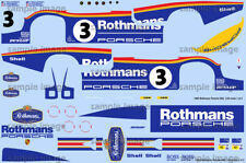1983 LeMans winning Rothmans Porsche 956 1/24 scale water transfer decals Tamiya