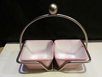 Pampered Chef Help Whip Cancer Pink Breast Ribbon Square Dip Bowls Caddy Set