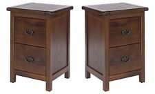 Baltia Dark Wood 2x Large 2 Drawer Bedside Cabinet Tables Solid Wood Storage