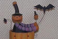 Williraye GOING BATTY Halloween Figurine Pumpkin Man Rider in Jack-O-Latern Car