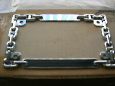 CUSTOM MOTORCYCLE LICENSE PLATE FRAME CHROME CHAIN LOOK.