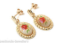 9ct Gold Mother of Pearl Rose Drop Earrings Earrings Gift Boxed Made in UK