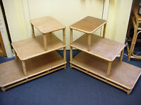MCM Rattan End Tables Vintage 2 Wood Triple Design Mid Century Modern
