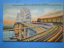 POSTCARD THE HUEY P LONG BRIDGE NEW ORLEANS SHOWING TRAIN CROSSING THE BRIDGE