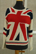 "HEADGIRL Vintage Union Jack Jumper 38"" Bust British UK Flag Colour Block Sweater"