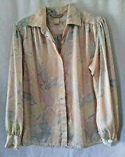 Vintage Evan Picone Top Blouse Women's  Size 12 Floral Soft Colors