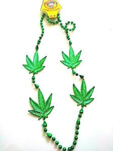 "Marijuana 4 Leaf Bead Necklace 42"" Weed Pot Mary Jane Mardi Gras Party Favor"