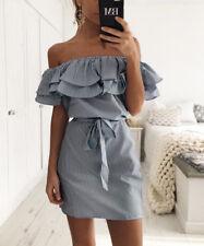 Plus Size Womens Holiday Off Shoulder Bardot Mini Dress Ladies Summer Frill Tops
