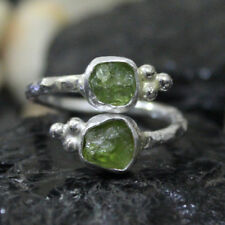 Handmade Designer Green Rough Apatite 925K Sterling Silver